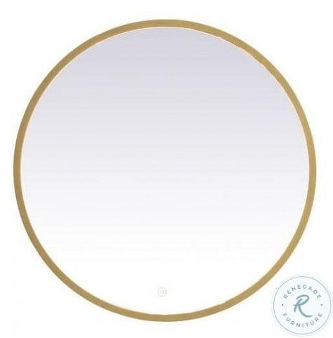 MRE6028BR Pier Brass Round 1 Light LED Mirror