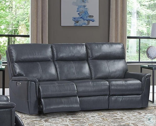 Reed Indigo Leather Power Reclining Sofa