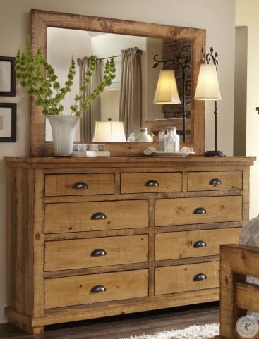 Willow Distressed Pine Dresser with Mirror