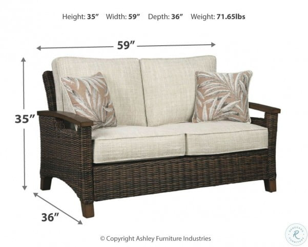 Paradise Trail Medium Brown Outdoor Loveseat with Cushion
