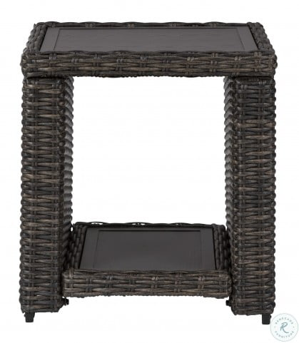 Grasson Lane Brown Outdoor Square End Table