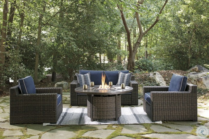 Grasson Lane Brown And Blue Outdoor Loveseat with Cushion