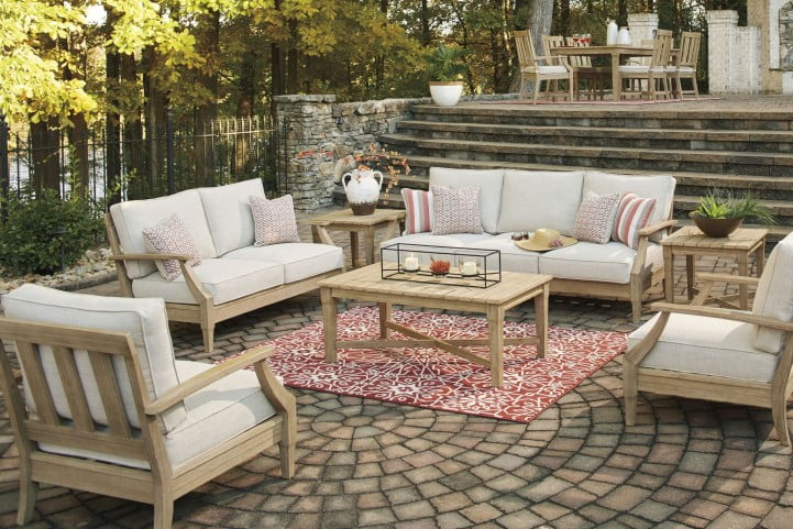 Clare View Beige Outdoor Living Room Set with Cushion