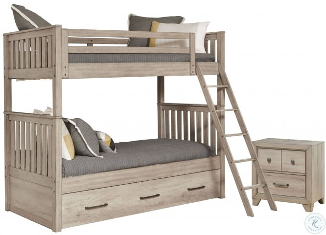 River Creek Birch Brown Twin Over Twin Storage Bunk Bed