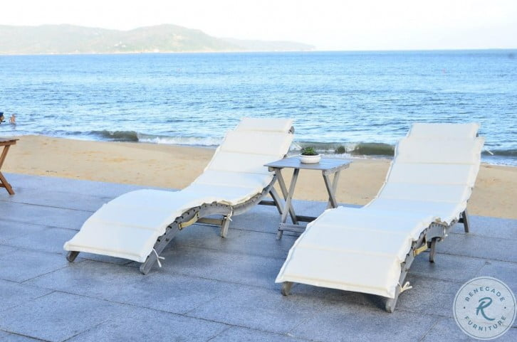 Pacifica Gray And Beige 3 Piece Outdoor Lounge Set