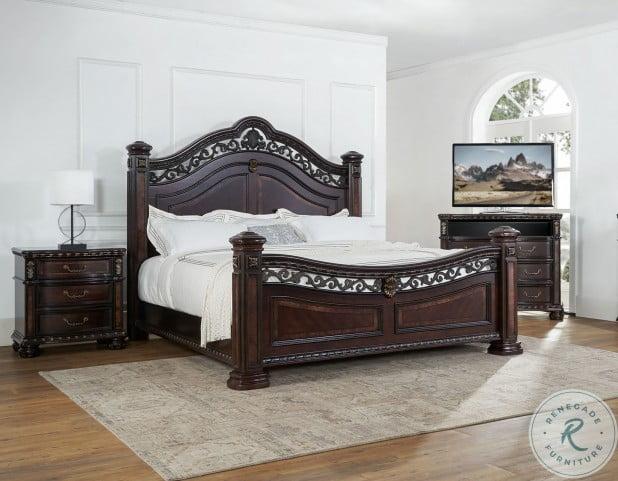 Monte Carlo Rich Cocoa Queen Poster Bed