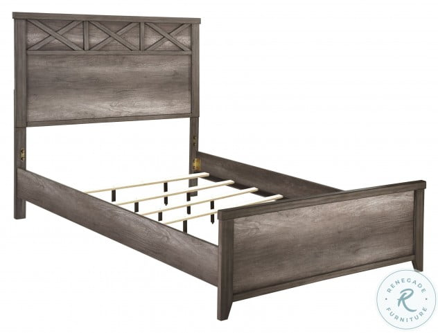 Xavier Gray Twin Panel Bed With Trundle Storage Unit