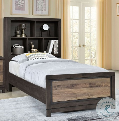 Harrison Brown Full Bookcase Bed With Trundle Storage