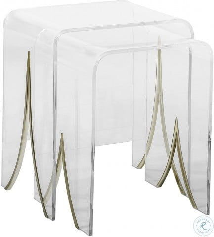 Magnolia Acrylic and Brass Nesting Table