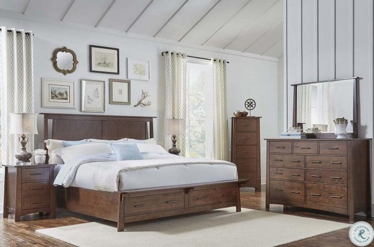 Sodo Dark Sumatra Storage Platform Bedroom Set