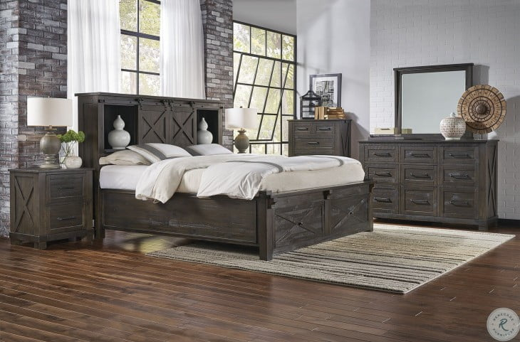 Sun Valley Charcoal Bookcase Storage Bedroom Set