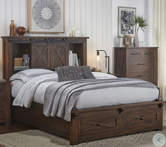 Sun Valley Rustic Timber Bookcase Storage Bedroom Set