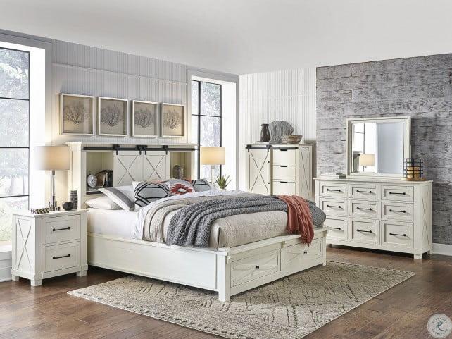 Sun Valley White Bookcase Storage Bedroom Set