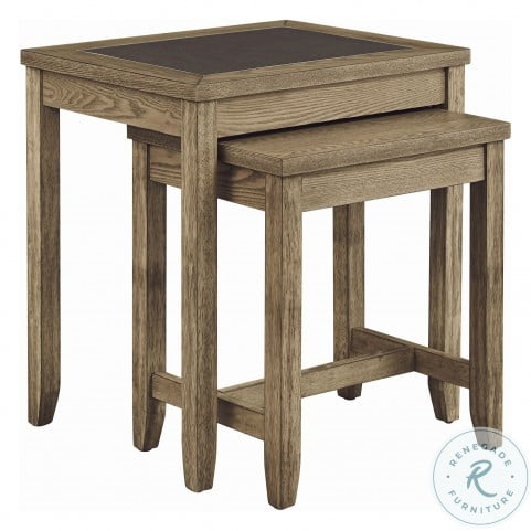 Sun Valley Distressed Weathered Driftwood And Charcoal Gray Tile Nesting Table Set Of 2
