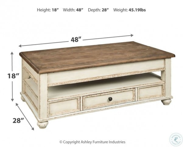Realyn White And Brown Lift Top Cocktail Table