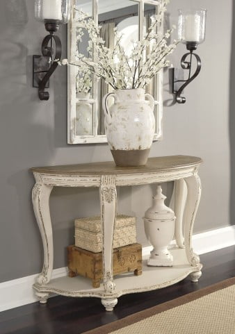 Realyn White and Brown Sofa Table