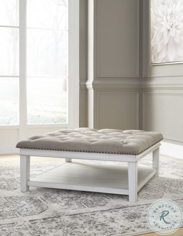 Kanwyn Antique White Upholstered Occasional Table Set