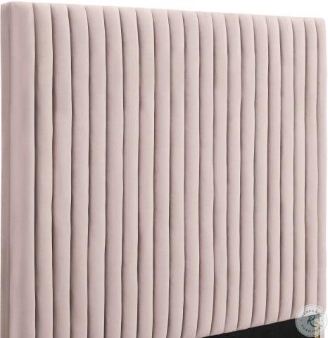 Arabelle Blush Velvet King Upholstered Platform Bed