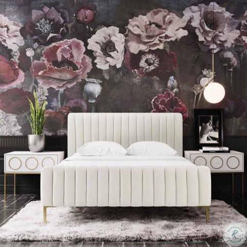 Angela Cream Queen Upholstered Panel Bed