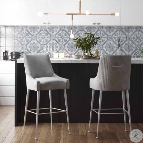 Beatrix Pleated Light Grey Velvet Counter Stool