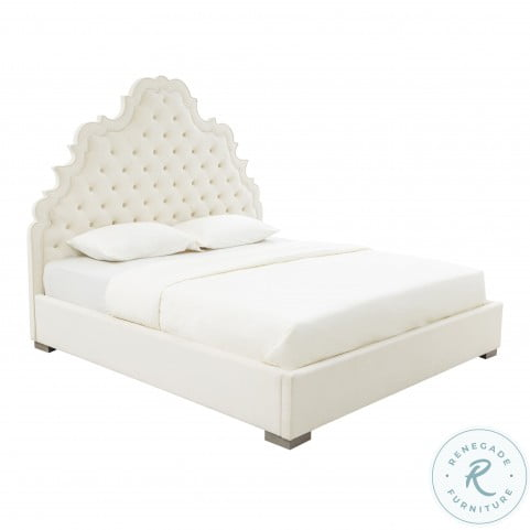 Carolina Cream Velvet King Upholstered Panel Bed