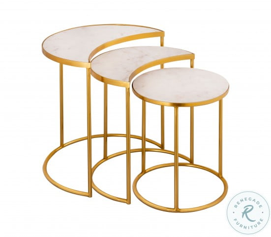 Crescent Gold Nesting Table Set Of 3