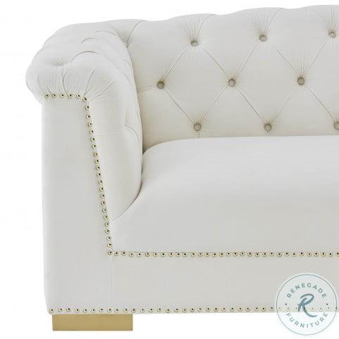 Farah Cream Velvet Living Room Set