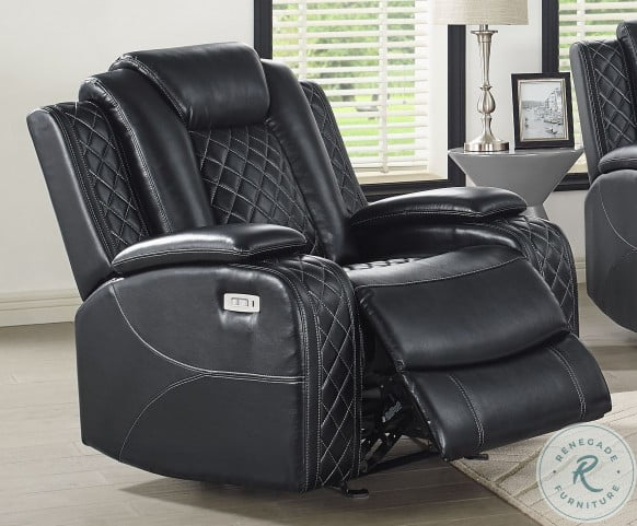 Orion Black Leather Reclining Living Room Set with Power Headrest and Footrest