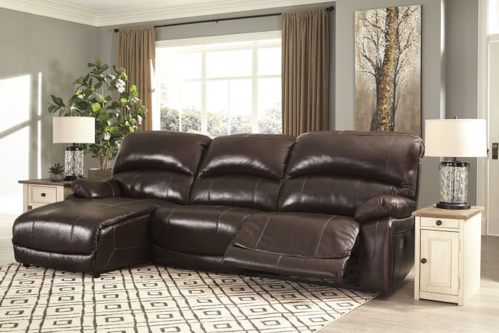 Hallstrung Chocolate Power Reclining LAF Sectional