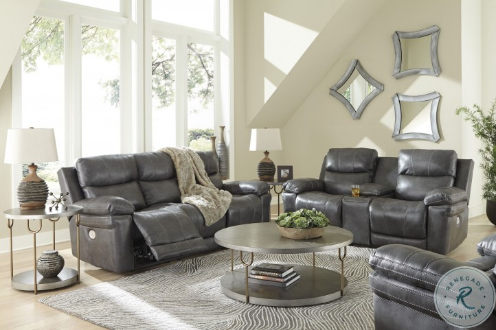 Edmar Charcoal Power Reclining Living Room Set With Adjustable Headrest