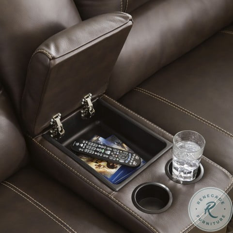 Dunleith Chocolate Power Reclining Console Loveseat