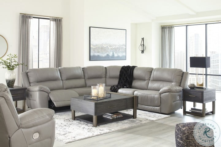 Dunleith Gray Power Reclining Sectional With Adjustable Headrest