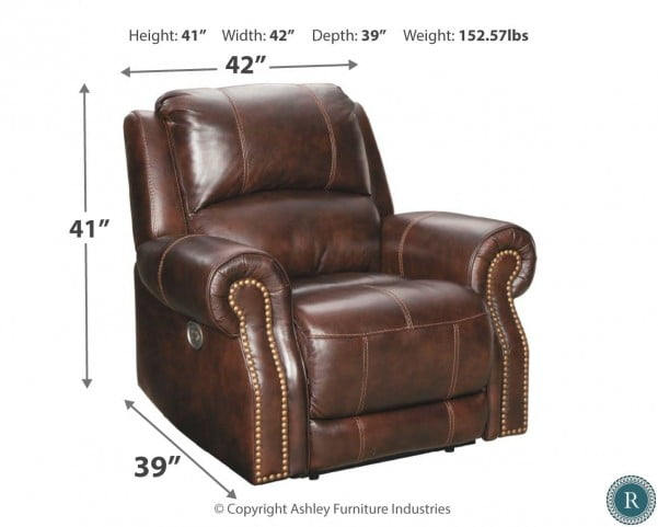 Buncrana Chocolate Leather Power Reclining Living Room Set with Adjustable Headrest
