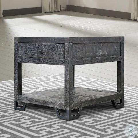 Veracruz Rustic Charcoal Chairside End Table