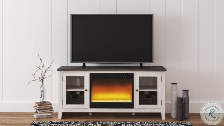 """Dorrinson Two-Tone 60"""" TV Stand With LED Electric Fireplace"""