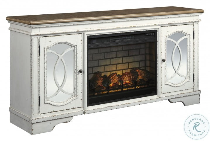 """Realyn Chipped White 74"""" TV Stand With Electric Fireplace"""