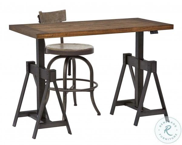 Medium Oak Adjustable Bar Stool