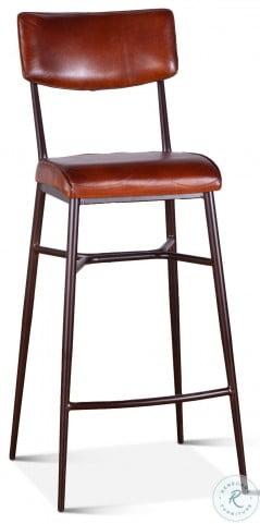 Hudson Vintage Tan Leather High Back Bar Stool