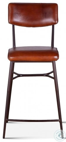 Hudson Vintage Tan Leather High Back Counter Height Stool