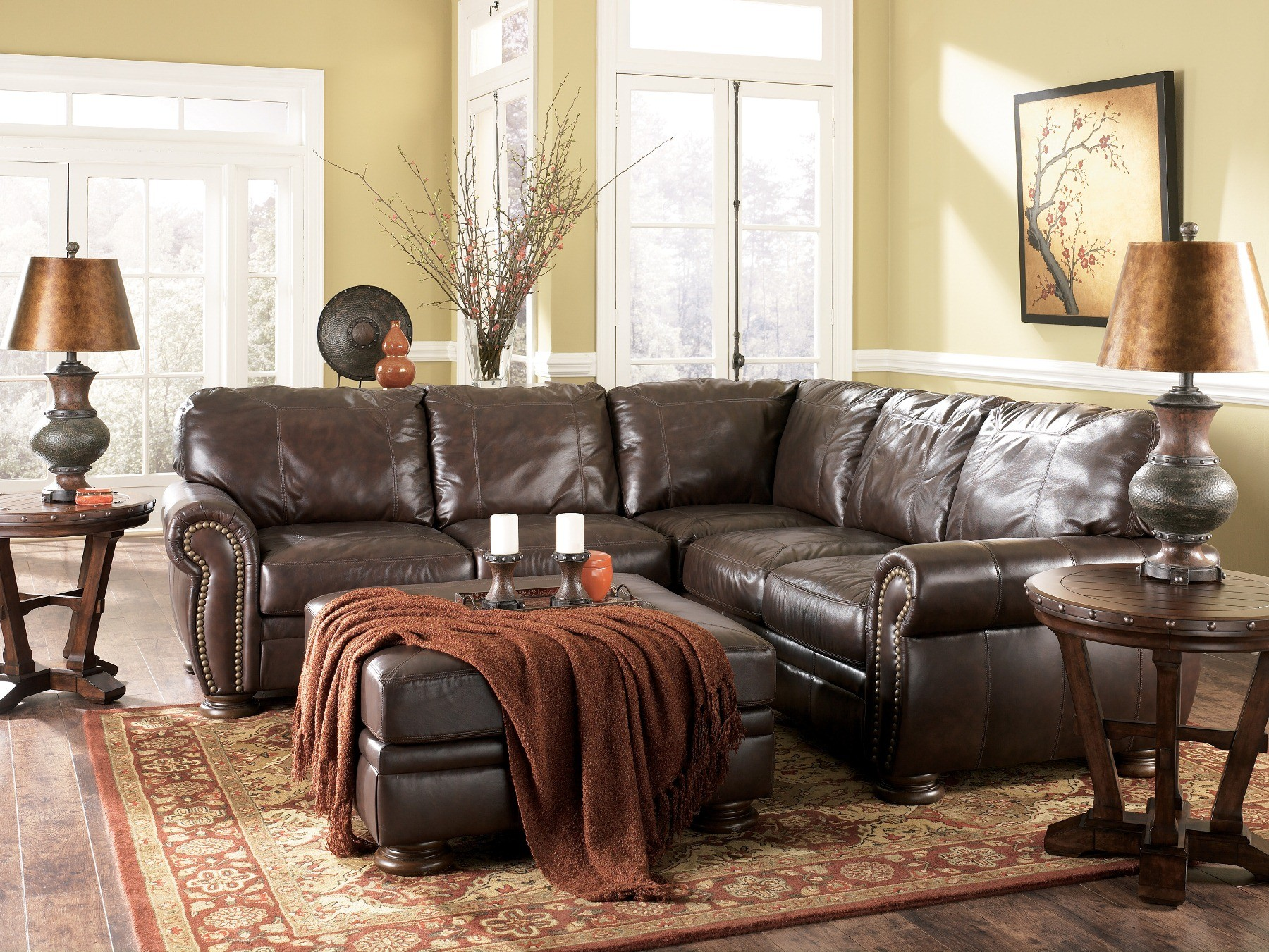 Palmer Walnut Sectional Sofa, Ashley Furniture, 2050067, Living ...