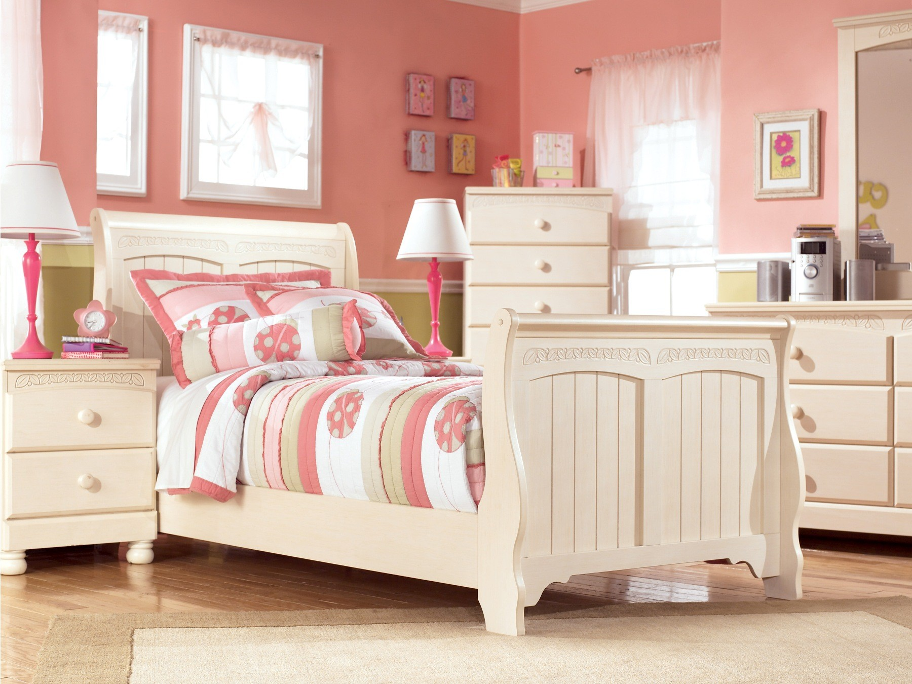 bedroom set bed with open footrail nightstand desk hutch and chest