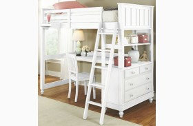 Lake House White Youth Loft Bed with Desk