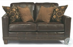 Port Royal Brown Leather Loveseat