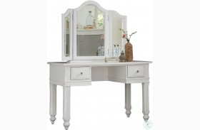 Lake House White Vanity Desk with Mirror
