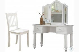 Lake House White Vanity Desk with Mirror & Chair