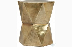 Olivia Hammered Gold Geometric End Table