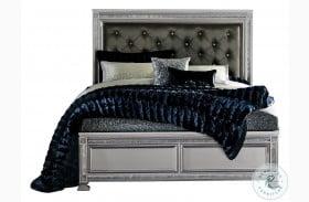 Bevelle Silver Bed Upholstered Panel Bed