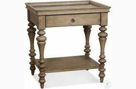 Corinne Sun Drenched Acacia Marble Top Nightstand