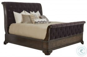 Landmark Russet Upholstered Sleigh Bed