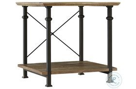 Factory Rustic Poplar and Black End Table